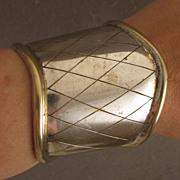 SALE Vintage Wide Silver Plated Cuff Bracelet