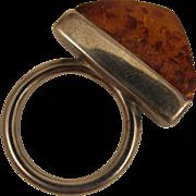 SALE Vintage Mod Amber Sterling Silver Ring size 9