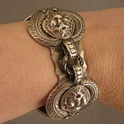 SALE Antique Heavy Cast Silver Cuff Bracelet