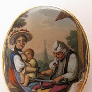 SALE Georgian 15K Enameled Brooch w/ Scene of Black Smith & Mother Nursing Child
