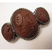 SALE Antique Victorian 800 Silver Triple Cameo Warriors Brooch