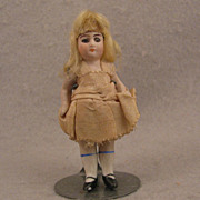 SALE 3.5 inch German Glass Eye Blond Wigged All Bisque Doll - all original