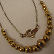 "SALE 15"" Vintage Gold Filled Bead Necklace"