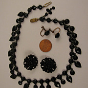 SALE Victorian Gothic Mourning Black Choker Necklace and Earrings Set