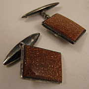 SALE Early 1900s Sterling Silver Aventurine Goldstone Cufflinks