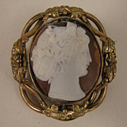SALE Victorian Carved Shell Cameo Swivel Brooch of Lady with Snood