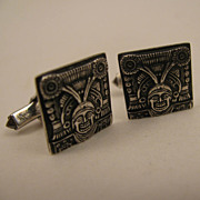 SALE Vintage Sterling Silver Aztec God Cufflinks