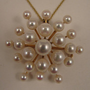SALE Vintage 14K Cultured Pearl Galaxy Brooch Pendant & Necklace Chain