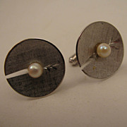 SALE MId Century Modern Mans Sterling Silver Cultured Pearl Cufflinks