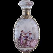 SOLD Antique VIENNESE ENAMEL Gold Gilt Enamel Large Figural Lay Down Perfume Bottle