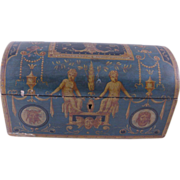 SOLD Rare ANTIQUE ITALIAN Venetian Superbly Painted Dome Trunk Box