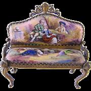 SOLD Antique VIENNESE ENAMEL Miniature Enamel Pastoral Scene Settee Furniture