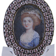 SOLD Antique Georgian  MINIATURE PORTRAIT Woman in Sterling and Paste Pendant Style Frame