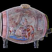 Superb Antique  VIENNESE ENAMEL Miniature Wine Cask Object on Bronze Stand