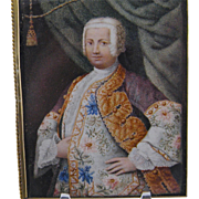 SOLD Antique 18 th Painting of a Nobleman in Finery  MINIATURE PORTRAIT