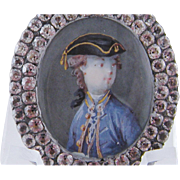 SOLD Antique French Military Gentleman  MINIATURE PORTRAIT in Paste Surround Frame