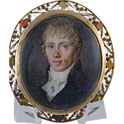 SOLD Framed 18 Kt Gold Georgian  MINIATURE PORTRAIT G  Arnold Moller Hair Seed Pearl Memorial