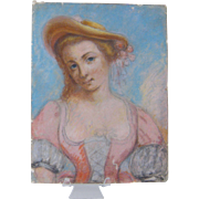SOLD 1800's French Antique  Paris  PASTEL PAINTING Woman in  Dress and Hat