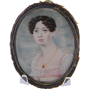SOLD Antique American Woman in White and Pink Circa 1830 MINIATURE PORTRAIT