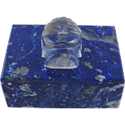 SOLD Superb Carved  LAPIS LAZULI with Rock Crystal Buddha Object d art Table Box