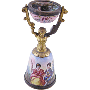 Rare  ANTIQUE VIENNESE ENAMEL Miniature Wedding Cup Object d Art