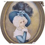SOLD Antique French  18th C Court of Louis XVI  WOMAN MINIATURE PORTRAIT