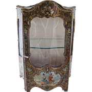 Charming Antique Miniature French with Shelves and Paintings MINIATURE VITRINE