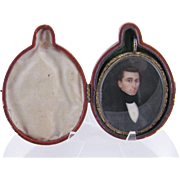 SOLD Antique American 1830 Painted Gentleman  GOLD PIN LEATHER CASE MINIATURE PORTRAIT