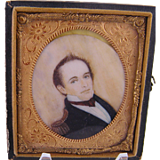 Antique 1800'S  American  NAVAL OFFICER Miniature Portrait in Frame