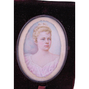 Antique circa 1890 American Debutante  MINIATURE PORTRAIT in Leather Travel Frame