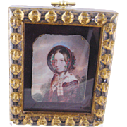 SOLD Antique 19th C English Woman ala Jane Eyre in Notched Frame MINIATURE PORTRAIT