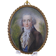 SOLD Antique 18th C Beautifully Painted Gentleman  MINIATURE PORTRAIT