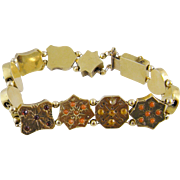 Antique Victorian 14 Kt Gold Multiple Gemstones  CORAL SLIDE BRACELET