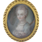 Antique FRENCH 1800'S PAINTING Beautiful Woman in Gilt Beaded Frame