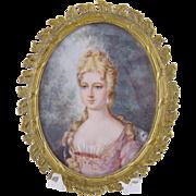 Antique signed Miniature Portrait  DUCHESSE de BOURGOGNE in Bronze Frame