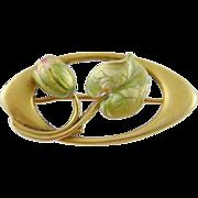 Antique  ART NOUVEAU  Hallmarked 14 Kt Gold  Enamel Rose Bud and Leaf Brooch