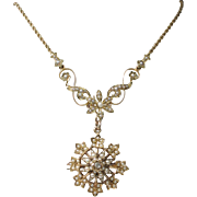 Antique 15k Gold Hallmarked Seed Pearl Daisy Necklace
