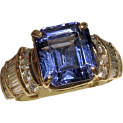 REDUCED MUAO: $14,650 RIVETING 7.67ct Tanzanite and Diamond Ring