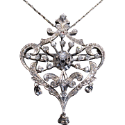 SOLD LAST CHANCE SALE! Glorious Lavalier ART DECO 2.60ct Diamond Pendant Brooch
