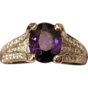 SOLD $17,550 Solid Platinum UNHEATED Color-Change Sapphire & Diamond Ring