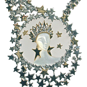 """""""AURORA"""" by Erte: 14k, sterling silver, diamonds, mother of pearl, crystal necklace"""