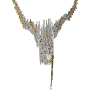 """Sophistication"" Necklace/Brooch State1 by ERTE Dazzles with Diamonds, Onyx, 14k and"