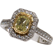 SALE MOTHER'S DAY SALE! BEAUTIFUL 18kt Vintage Glowing Fancy Yellow Diamond Engagement Ring