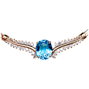 SALE 14k Topaz Diamond Necklace - Stunningly Beautiful & appraised over $4000