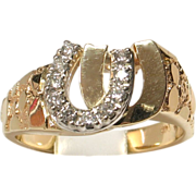 SALE MOTHER'S DAY SALE! 14k Yellow Gold Diamond Double Horseshoe Ring