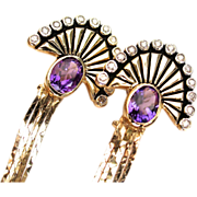 "SALE Erte ""LA MER"" Amethyst diamond 14k Dangling Earrings"