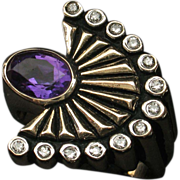 "SALE MOTHER'S DAY SALE! 14k ""La Mer"" Amethyst Diamond Ring by ERTE - Collector's Del"