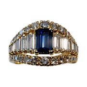 SALE MOTHER'S DAY SALE! $13,850 Magnificent 4.06tcw UNHEATED Blue Sapphire & Diamond Ring