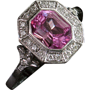 SALE MOTHER'S DAY SALE! Divine 14kt Natural Pink Sapphire & Diamond Ring