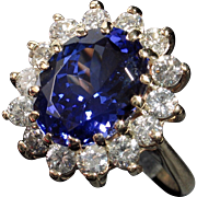 MUAO: Extremely Beautiful 14kt 'Princess Di' 5.88ct Tanzanite & Diamond Ring